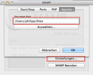 Im Register Apache kann man den Startordner der Websites einstellen
