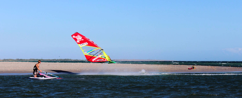 Phil Soltysiak Windsurfing Kono in El Yaque, Isla Margarita, Venezuela. Photo by Lisa Pina.