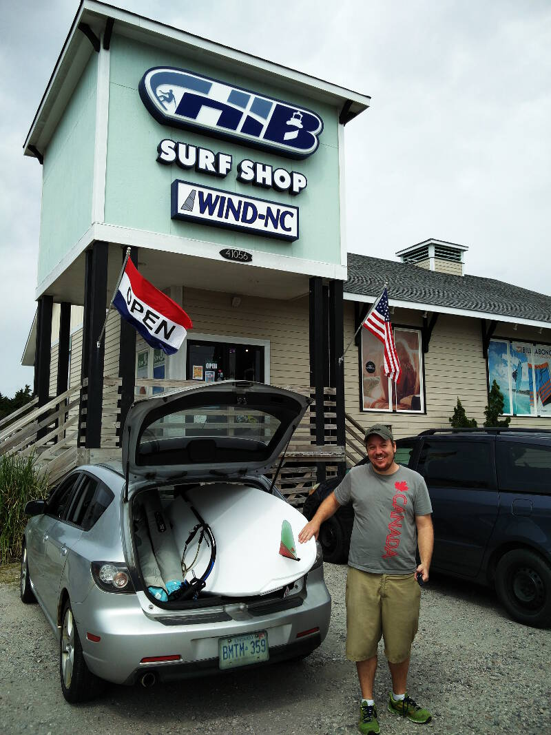 Canadians renting windsurf equipment from Wind NC in Cape Hatteras, well packed!