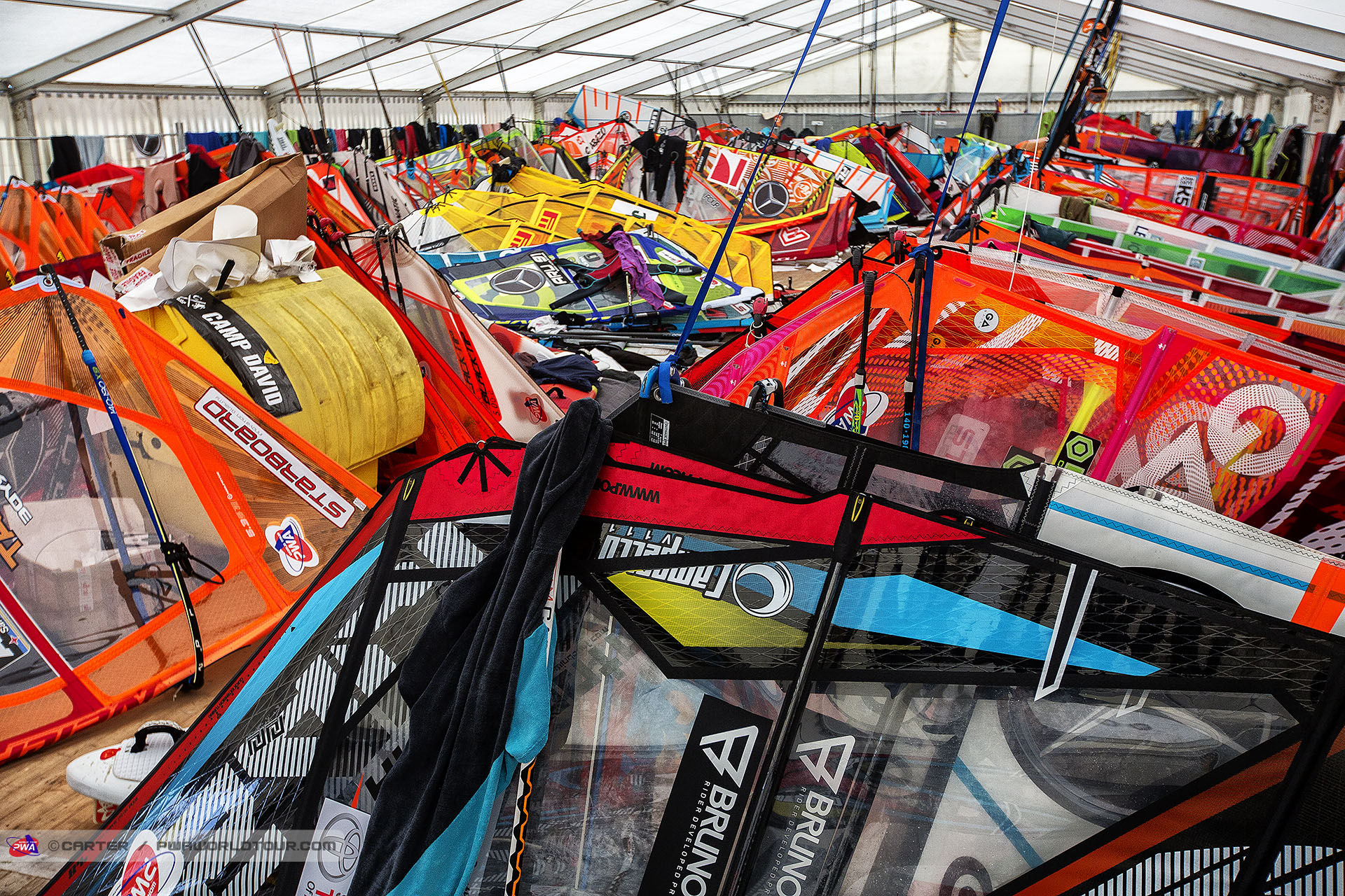 The windsurf equipment storage tent