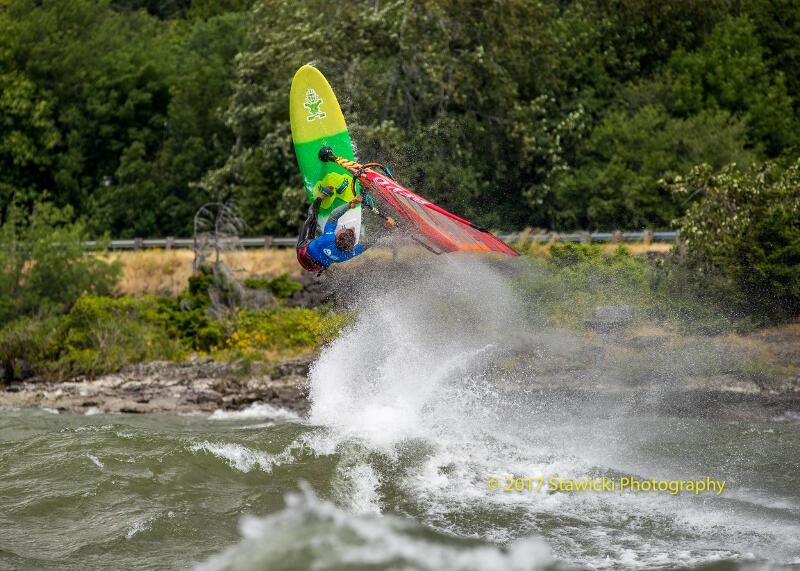 Philip Soltysiak take-off at the 2017 IWT Gorge Beach Bash windsurfing event. Photo by Bob Stawicki.