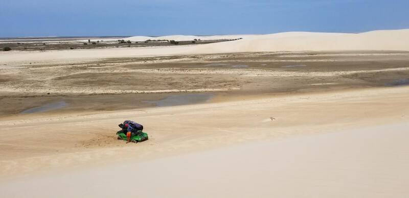 Stuck and all alone in the dunes.