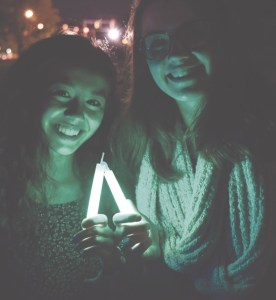 """Krystiana Swain '18, a board member of Active Minds, and Leeza Petrov '18 participated in the """"Walk into the Light"""" Vigil, which commemorates Mental Illness Awareness Week."""