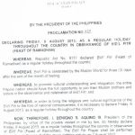 August 9 Ramadan Holiday Declared by Malacanang