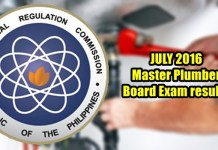 July 2016 Master Plumber Board Exam Results