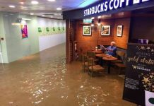 Starbucks Uncle Ignores Floods In Hong Kong During His Coffee Routine