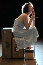 Mary Tuomanen as the Maid of Orleans in SAINT JOAN, BETRAYED. 2013 Philly Fringe Festival.