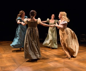 (clockwise from left) Julianna Zinkel, Clare Mahoney, Jessica Bedford, and Becky Baumwoll in PRIDE & PREJUDICE at People's Light & Theatre Company (Photo credit: Mark Garvin)