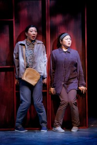 Jo Mei and Ruibo Qian in a production of You for Me for You. Photo by Scott Suchman, courtesy of Woolly Mammoth Theatre Company.