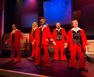 "The ensemble (Dave Jadico, Alex Bechtel, Aimé Donna Kelly, Scott Greer, and Jennifer Childs) plays ""The Spinners"" in 1812 Productions' THIS IS THE WEEK THAT IS (Photo credit: Mark Garvin)"