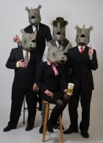 (L-R) Bob Schmidt, Michael Dura, Tina Brock (front), Tomas Dura and David Stanger in Eugène Ionesco's Rhinoceros. Photo Credit: Johanna Austin (www.austinart.org)