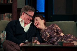 Pearce Bunting and Catharine Slusar star as George and Martha in Theatre Exile's WHO'S AFRAID OF VIRGINIA WOOLF (Photo credit: Paola Nogueras)