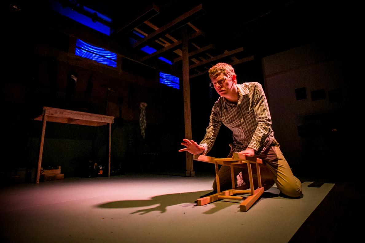 Josh Hitchens plays the psycho-killer in BrainSpunk's JEFFREY DAHMER: GUILTY BUT INSANE (Photo credit: Ashley LaBonde, Wide Eyed Studios)