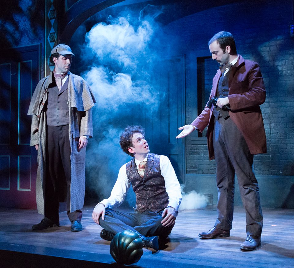 Damon Bonetti, Daniel Fredrick and Dave Johnson in THE HOUND OF THE BASKERVILLES. Photo by Mark Garvin.
