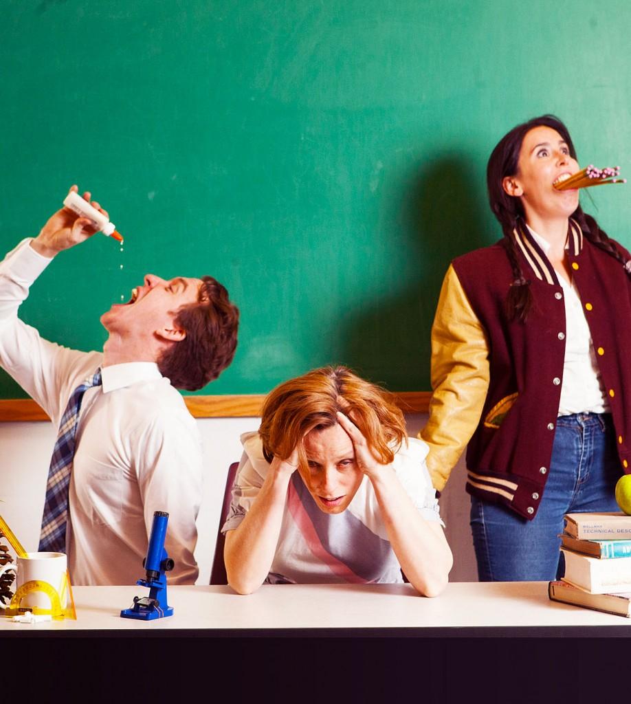 Bradley Wrenn, Dawn Falato, and Lee Minora in the Berserker Residents' IT'S SO LEARNING (Photo credit: Kate Raines)