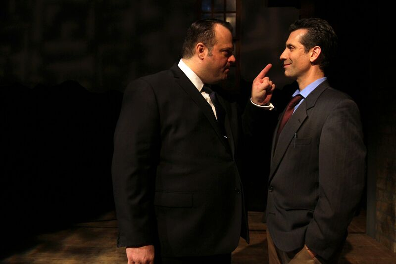 Scott Greer stars in the titular role and Damon Bonetti is the reporter in Theatre Exile's RIZZO (Photo credit: Paola Nogueras)