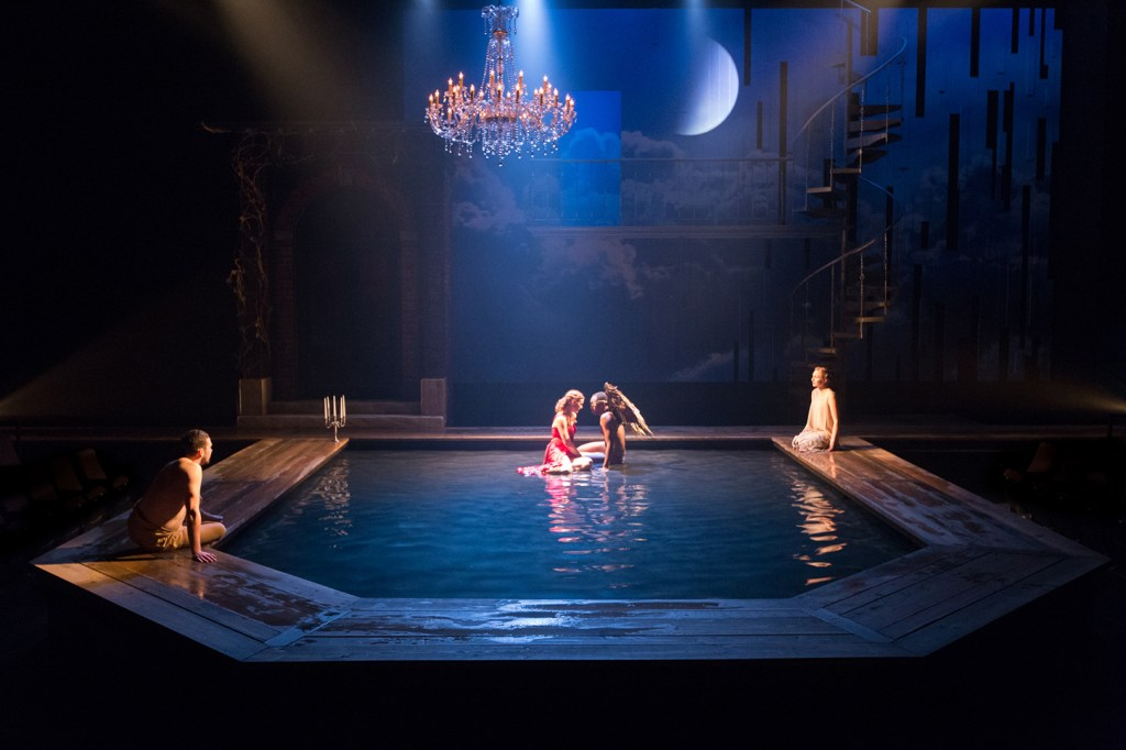 Sean Bradley, Krista Apple-Hodge, Brandon Pierce, and Clare O'Malley in METAMORPHOSES. Photo by Mark Garvin.