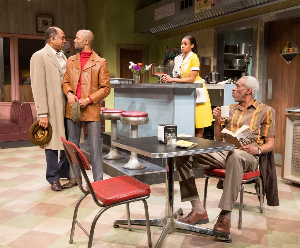 Johnnies Hobbs, Jr. as Memphis, Darian Dauchan as Wolf, Lakisha May as Risa, and Damien J. Wallace as Holloway in Arden Theatre Company's production of TWO TRAINS RUNNING. Photo by Mark Garvin.