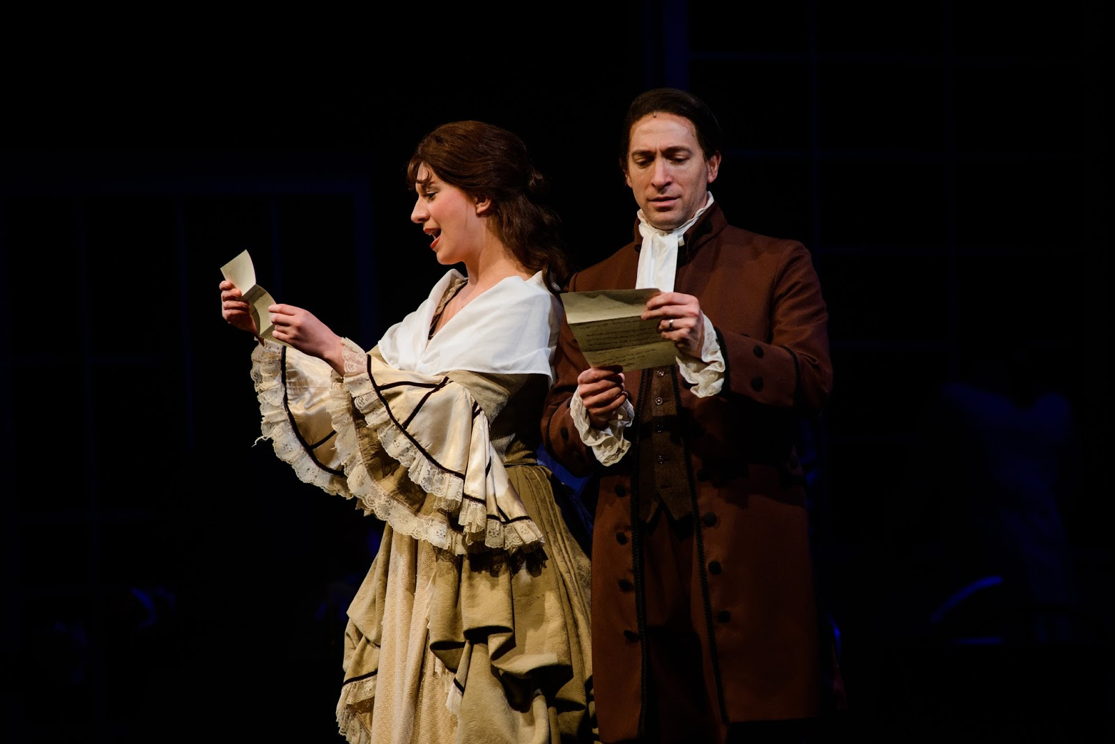 Ben Dibble as John Adams and Elyse Langley as Abigail in 1776 The Musical. Photo by Maura McConnell