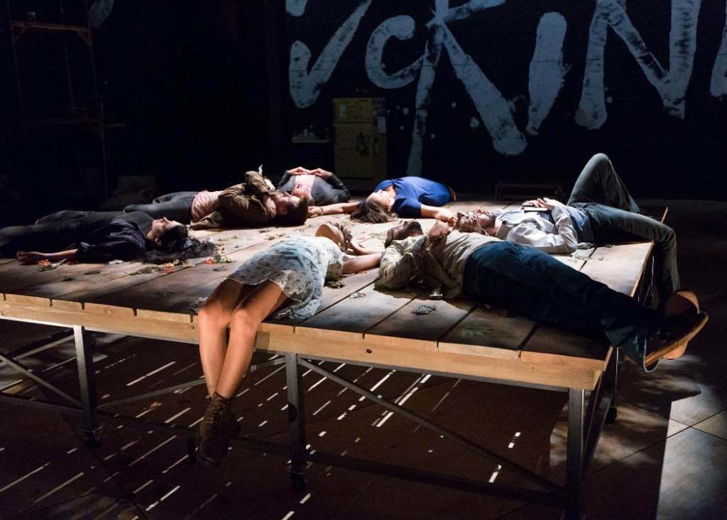 The ensemble of Arden Theatre Company's STUPID FUCKING BIRD (Clockwise, from bottom): Cindy De La Cruz, Alex Keiper, Aubie Merrylees, Greg Wood, Grace Gonglewski, Karl Miller, and Dan Hodge (Photo credit: Mark Garvin).