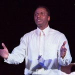 Bowman Wright in THE MOUNTAINTOP at People's Light (Photo credit: Mark Garvin)