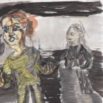 Lenta (Aneta Kerova) and the Old Woman (Azetz Papadopoulou). Sketch by Chuck Schultz.