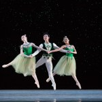 Pennsylvania Ballet Corps de Ballet Members Jacqueline Callahan, Zecheng Liang, and Nayara Lopes in George Balanchine's JEWELS. Photo Credit: Alexander Iziliaev