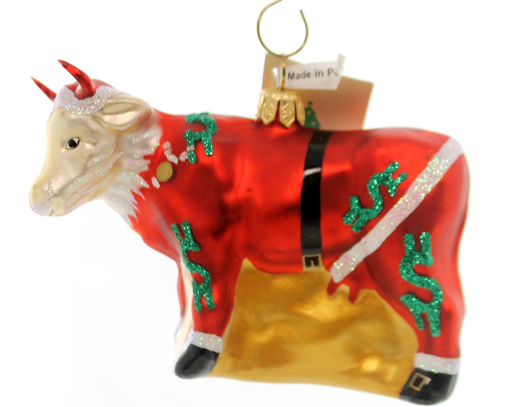 Santa Claus Cash Cow, glass ornament