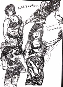 THREE SISTERS at Curio Theatre. Sketch by Chuck Schultz.