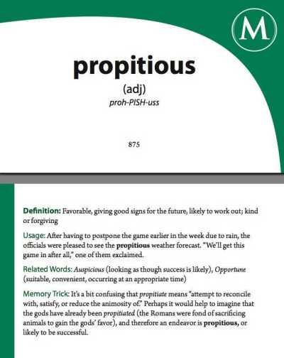 propitious - Phocabulary word - Photo Word of the Day to improve and enhance word memory ...