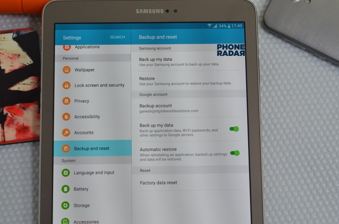 Samsung Galaxy Tab S2 Backup and reset