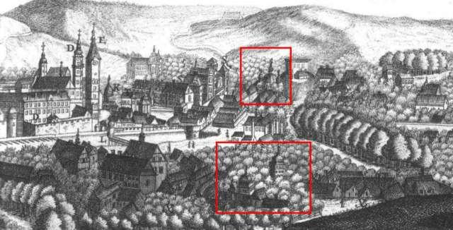 Церква Богоявлення (вгорі) та Благовіщення. Фрагмент панорами Львова 1772 року