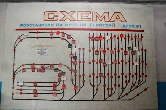 Схема розташування вагонів у депо.
