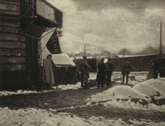 Польський пост (плацувка) на вулиці Бема. Фото 1918 року