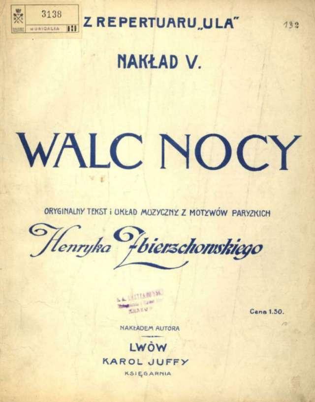 """Обкладинка видання Юффі із текстом першого львівського шлягера """"Вальс ночі"""""""