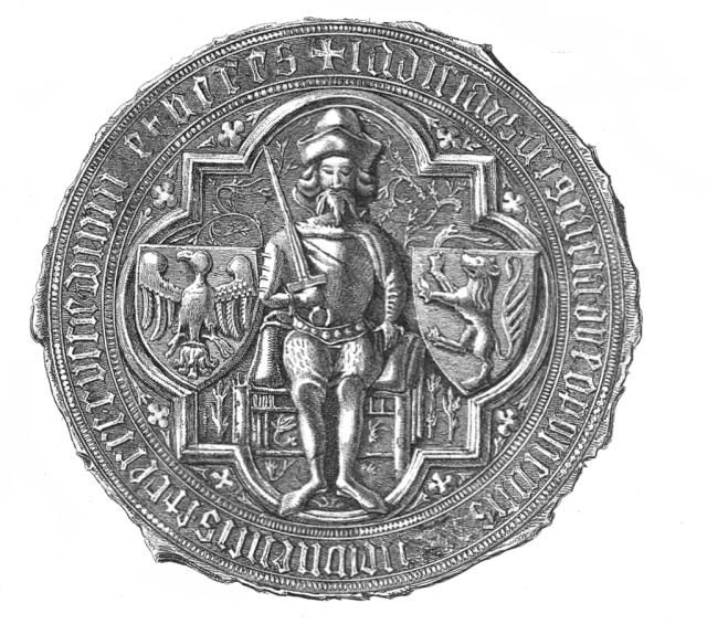 Печатка Владислава Опольського (1379 р.), який відкрив перший монетний двір у Львові (1370-ті рр.)