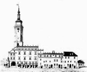 Ратуша перед 1826 роком, малюнок Єжи Глоговського