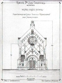 Фасад Костелу Св. Івана Хрестителя. Проект авторства Ю.Захаревича