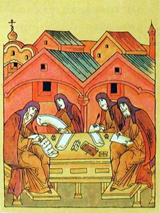 Євангелісти, стилізовані під писарів ктєво-руської доби