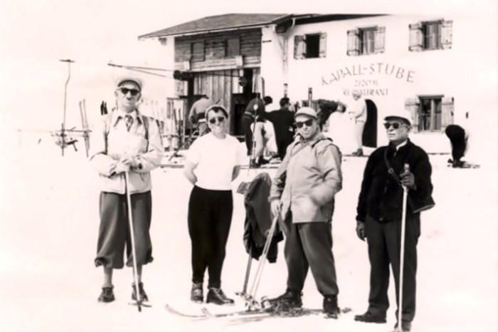 Провідник ОУН із друзями в Альпах. Зліва направо: Степан Ленкавський, невідомий, Степан Бандера, Дмитро Миськів.