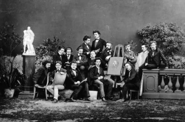Групове фото студентів Краківської академії красних мистецтв з професором Владиславом Лущкевичем. Вгорі Тадеуш Рибковський (1870-1875)