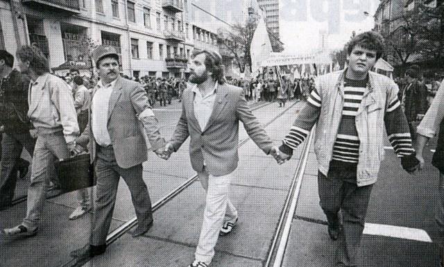 День Соборності 1990 року у у Львові. Фото 1990 року