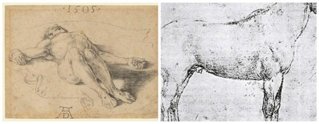 """Альбрехт Дюрер. Рисунок """"Смерть Христа"""" і рисунок коня в профіль. (Львівська колекція)"""