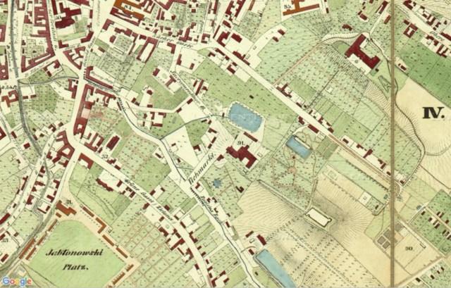 Початкові розміри Вороблячого ставу та саду біля монастиря Саакраменток. План міста Львова 1766 року