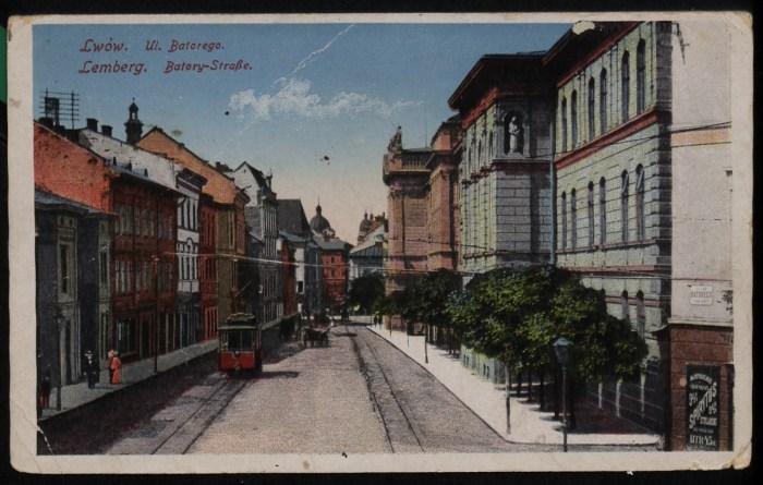 Трамвайний маршрут по вул. Князя Романа. Листівка 1913 року