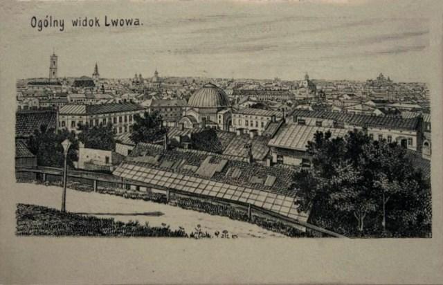 Вид на Краківське передмістя і синагогу Темпль. Листівка 1905-1910 рр.