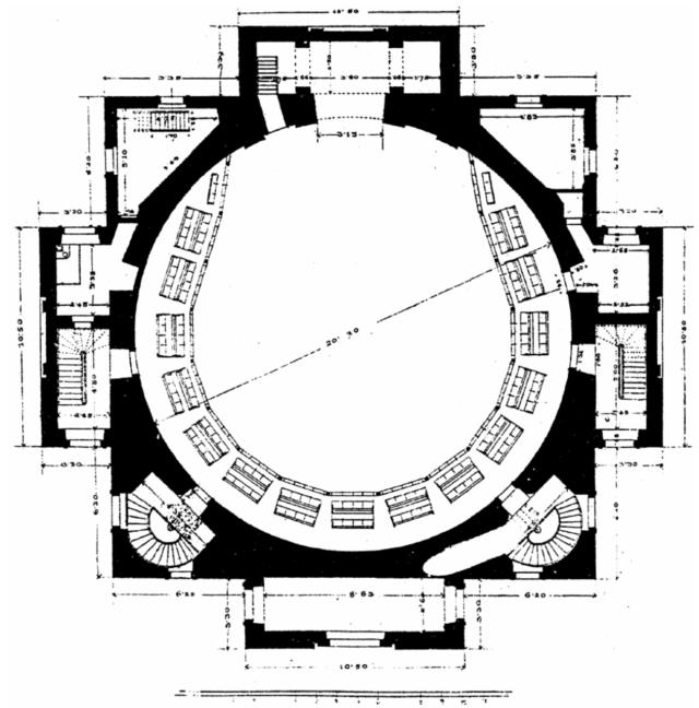 План першого поверху синагоги Темпль на пл. Старий ринок у Львові. Зроблений приблизно 1840-х роках.
