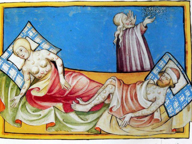 Зачумлені. Ілюстрація з Біблії початку XVстоліття