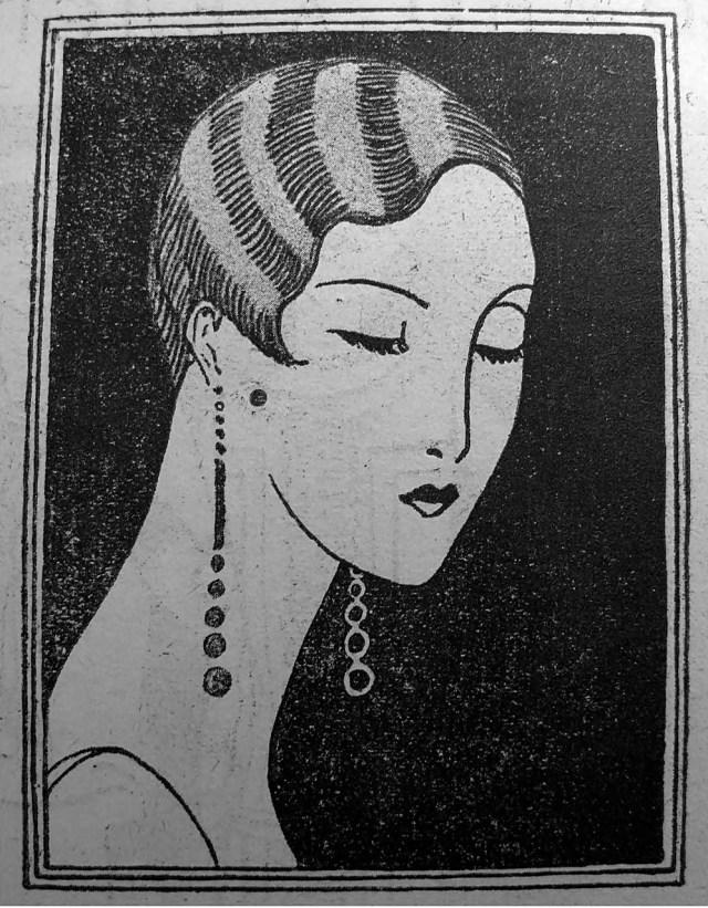 Модерна зачіска з поділом з лівого боку, волосся ондульоване у великі хвилі («Нова Хата, 1926)