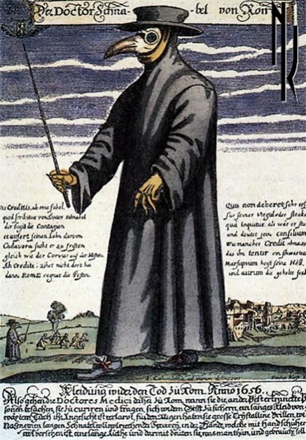 Чумний лікар, гравюра П. Фюрста (1656 р.), фото з http://krytyka.com.ua
